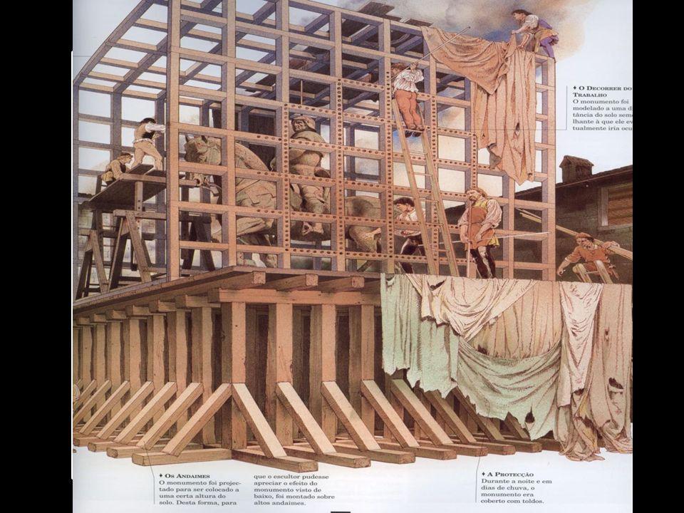Um dos grandes feitos de Leonardo, foi os estudos e o modelo que fez para uma estátua equestre de vinte e três metros de altura e pesando quase 80 ton