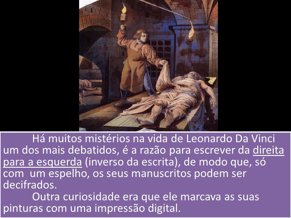 Há muitos mistérios na vida de Leonardo Da Vinci um dos mais debatidos, é a razão para escrever da direita para a esquerda (inverso da escrita), de mo
