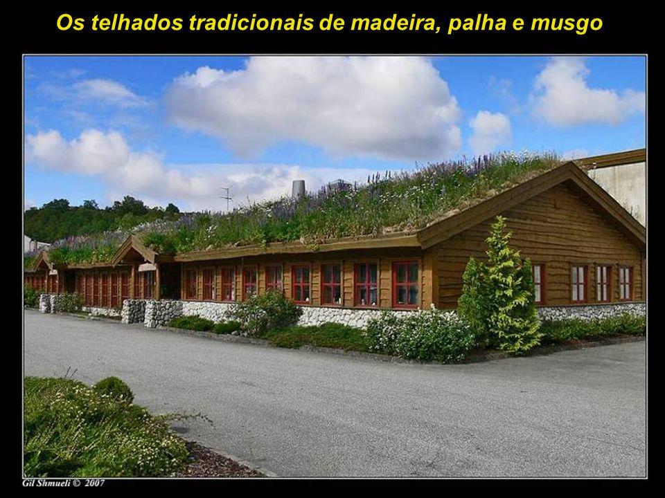 Os telhados tradicionais de madeira, palha e musgo