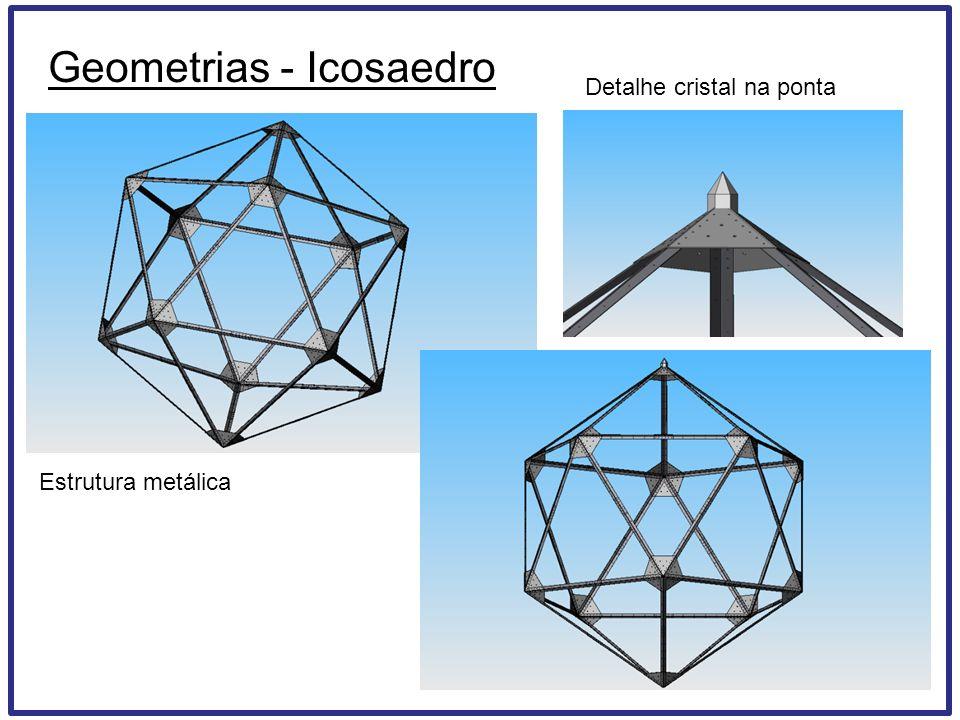 Geometrias - Icosaedro Estrutura metálica Detalhe cristal na ponta