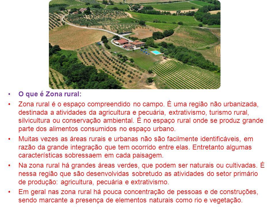 O que é Zona rural: Zona rural é o espaço compreendido no campo. É uma região não urbanizada, destinada a atividades da agricultura e pecuária, extrat