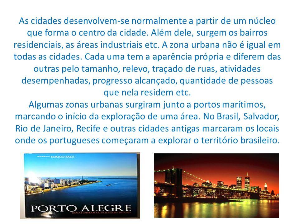 As cidades desenvolvem-se normalmente a partir de um núcleo que forma o centro da cidade. Além dele, surgem os bairros residenciais, as áreas industri