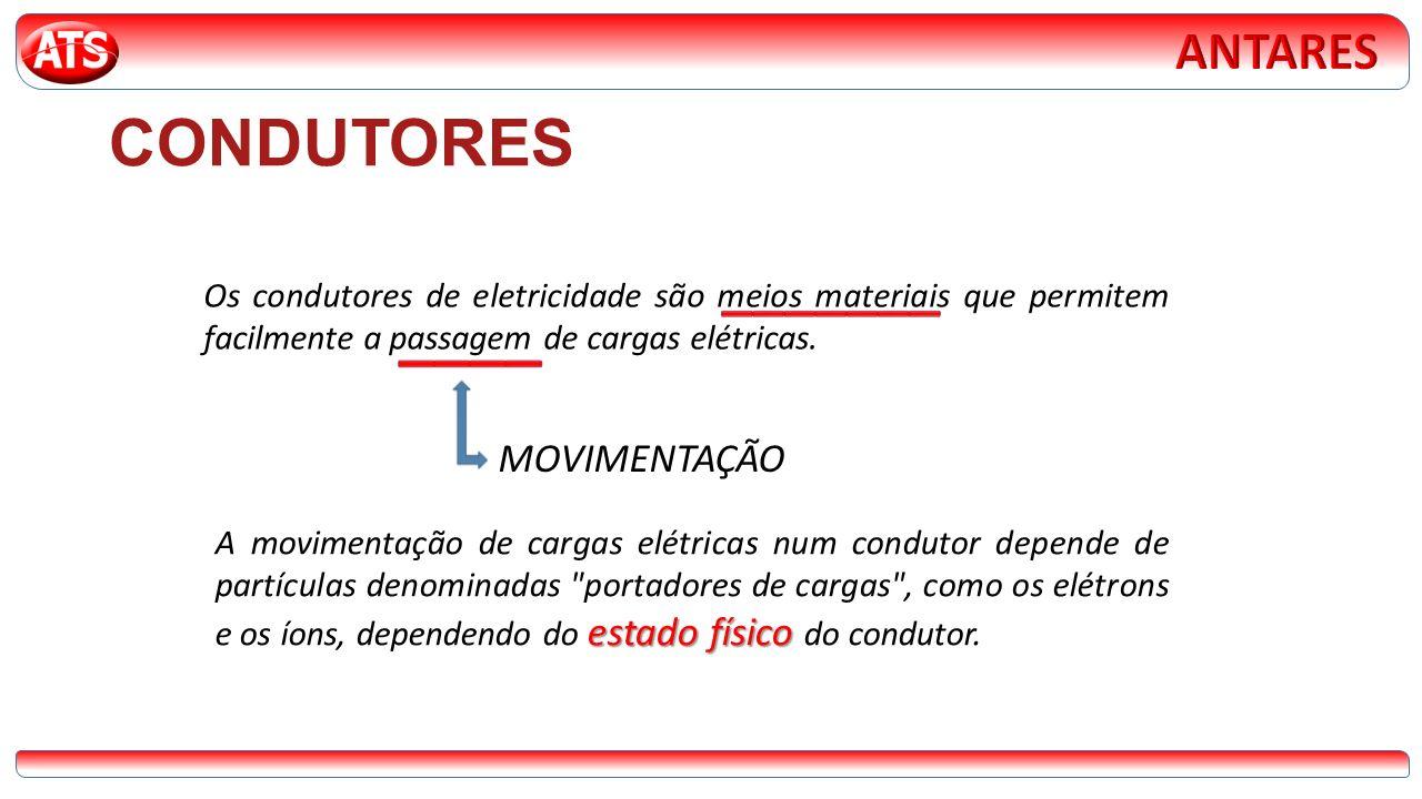 CONDUTORES Os condutores de eletricidade são meios materiais que permitem facilmente a passagem de cargas elétricas. estado físico A movimentação de c