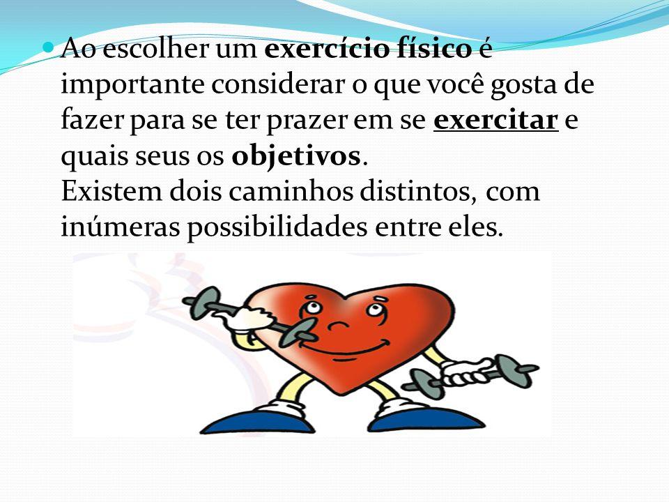 São eles : Aeróbicos : O exercício aeróbico é aquele que refere-se ao uso de oxigênio no processo de geração de energia dos músculos.