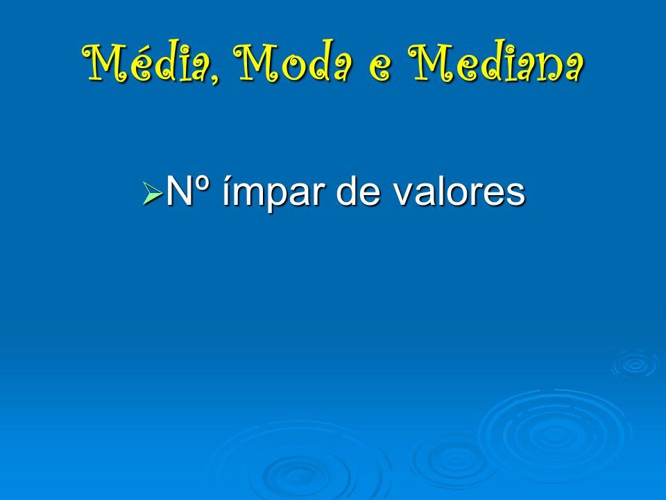 Nº ímpar de valores Nº ímpar de valores Média, Moda e Mediana