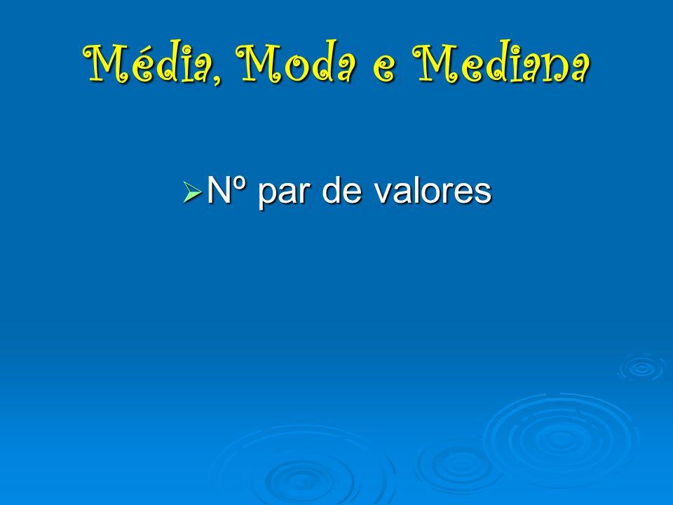 Nº par de valores Nº par de valores Média, Moda e Mediana