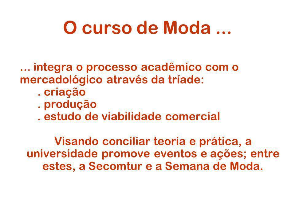 O curso de Moda......integra o processo acadêmico com o mercadológico através da tríade:.