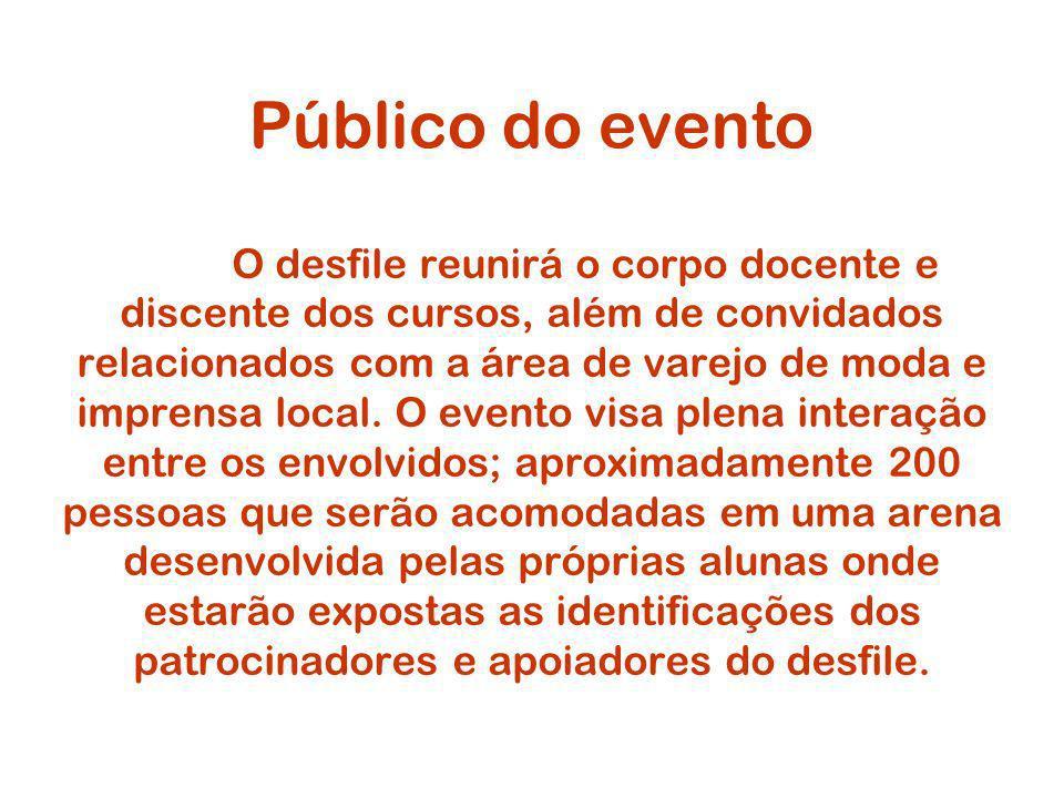 Público do evento O desfile reunirá o corpo docente e discente dos cursos, além de convidados relacionados com a área de varejo de moda e imprensa local.
