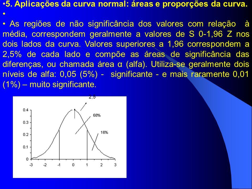 5. Aplicações da curva normal: áreas e proporções da curva. As regiões de não significância dos valores com relação à média, correspondem geralmente a