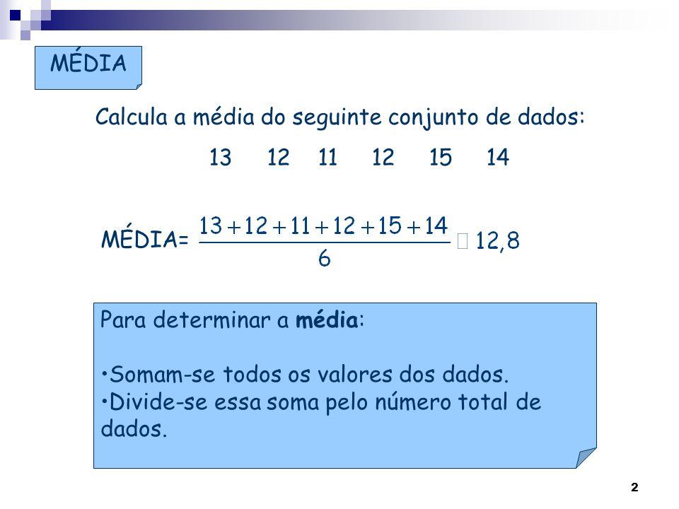 2 Para determinar a média: Somam-se todos os valores dos dados. Divide-se essa soma pelo número total de dados. MÉDIA Calcula a média do seguinte conj