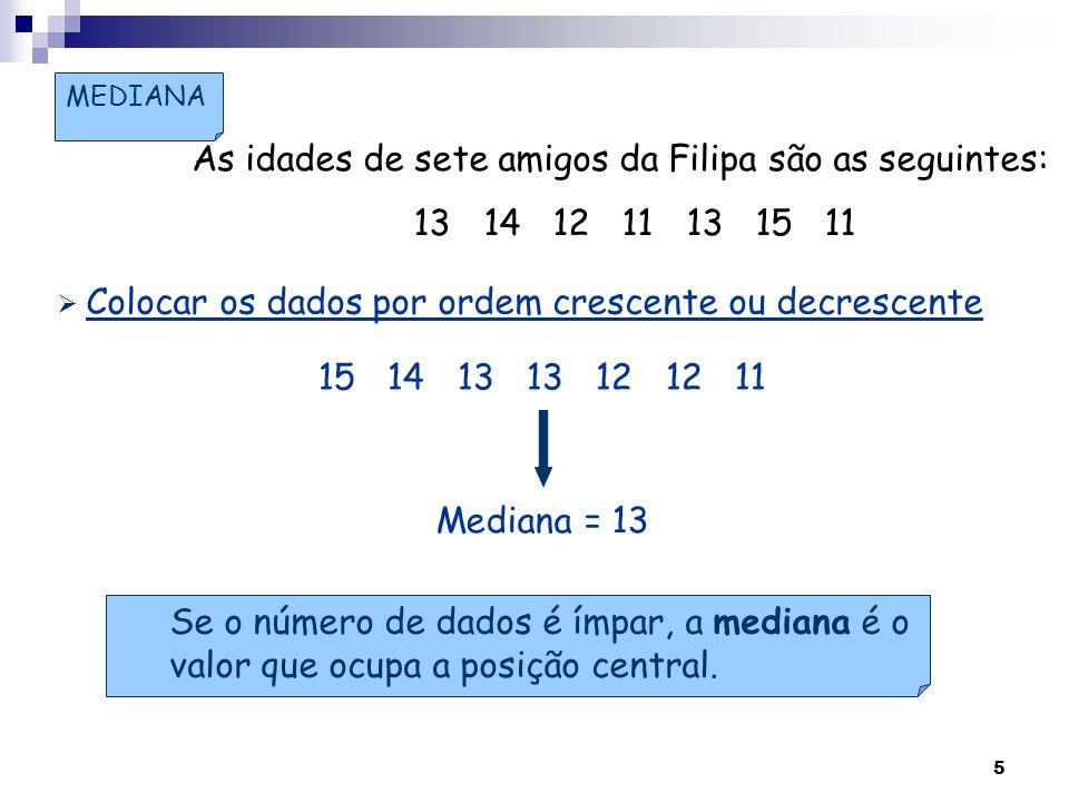 5 MEDIANA As idades de sete amigos da Filipa são as seguintes: 13 14 12 11 13 15 11 15 14 13 13 12 12 11 Se o número de dados é ímpar, a mediana é o v