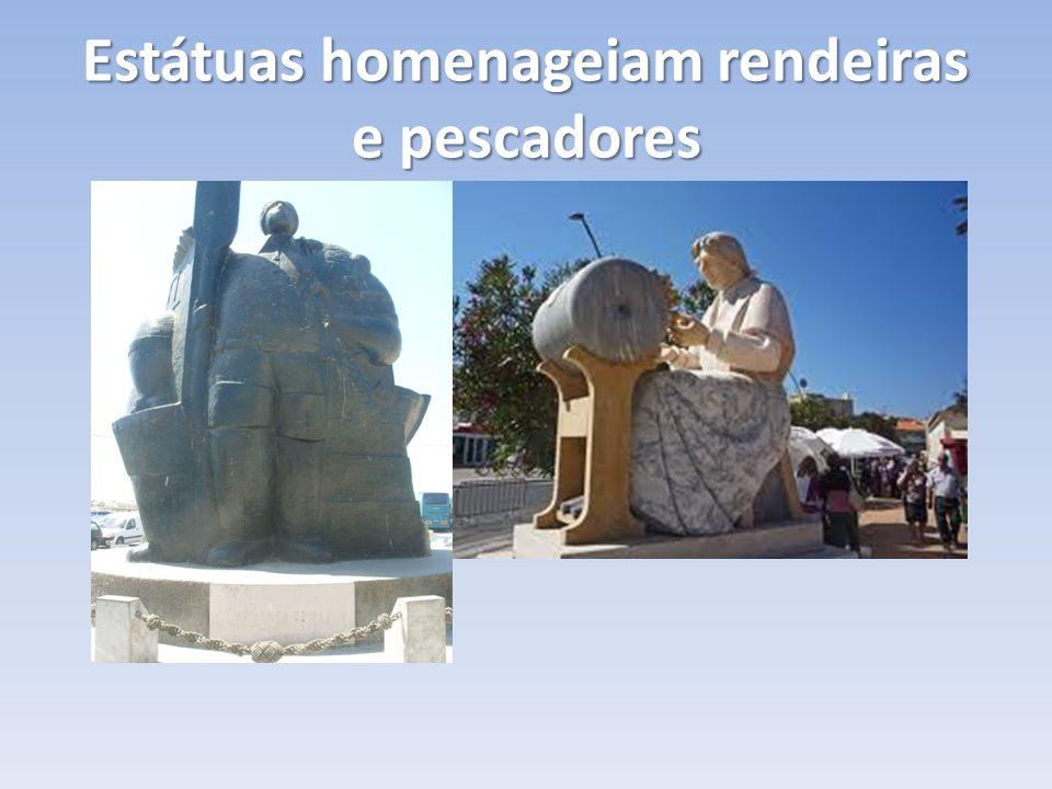 Estátuas homenageiam rendeiras e pescadores