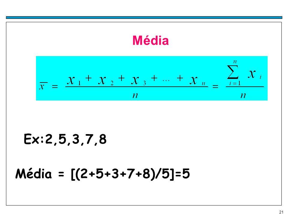 21 Média Ex:2,5,3,7,8 Média = [(2+5+3+7+8)/5]=5