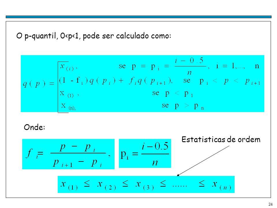 24 O p-quantil, 0<p<1, pode ser calculado como: Onde: Estatisticas de ordem
