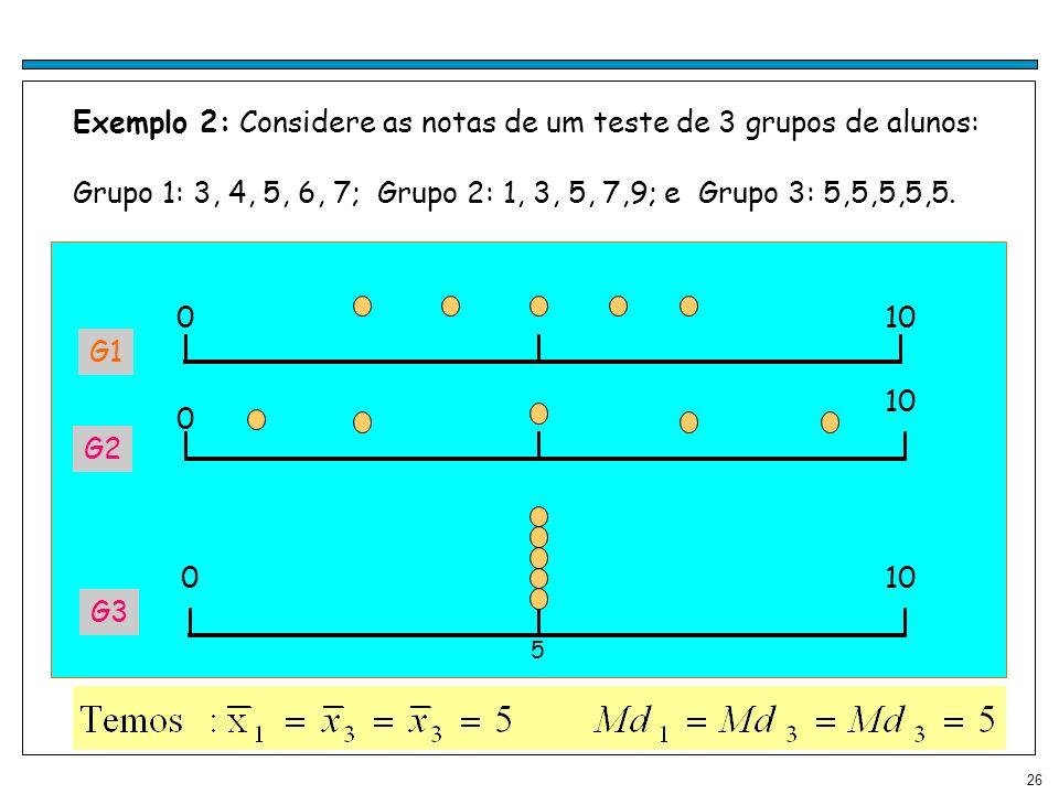 26 Exemplo 2: Considere as notas de um teste de 3 grupos de alunos: Grupo 1: 3, 4, 5, 6, 7; Grupo 2: 1, 3, 5, 7,9; e Grupo 3: 5,5,5,5,5. G1 010 0 0 5