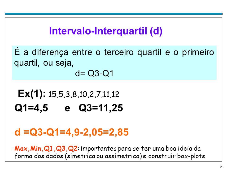 28 Intervalo-Interquartil (d) É a diferença entre o terceiro quartil e o primeiro quartil, ou seja, d= Q3-Q1 Ex(1): 15,5,3,8,10,2,7,11,12 Q1=4,5 e Q3=