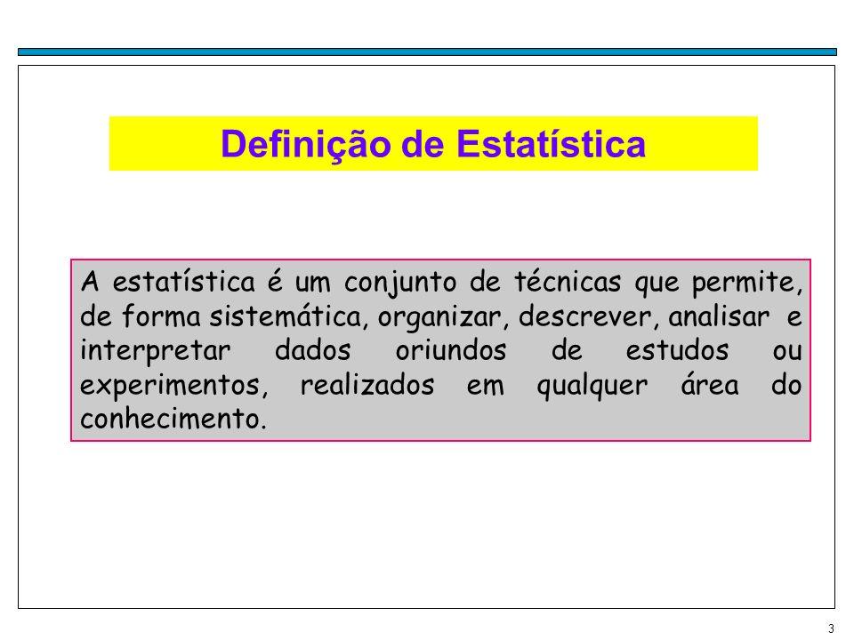 3 Definição de Estatística A estatística é um conjunto de técnicas que permite, de forma sistemática, organizar, descrever, analisar e interpretar dad