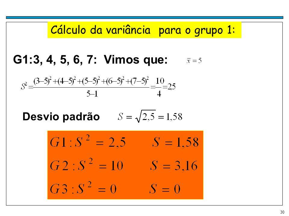 30 Cálculo da variância para o grupo 1: G1:3, 4, 5, 6, 7: Vimos que: Desvio padrão