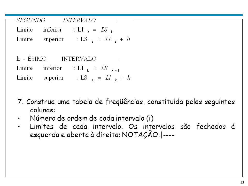 43 7. Construa uma tabela de freqüências, constituída pelas seguintes colunas: Número de ordem de cada intervalo (i) Limites de cada intervalo. Os int