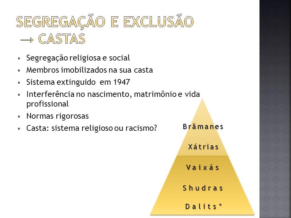 Segregação religiosa e social Membros imobilizados na sua casta Sistema extinguido em 1947 Interferência no nascimento, matrimônio e vida profissional
