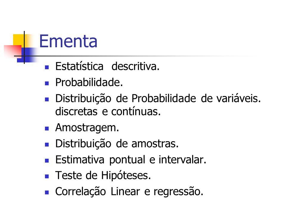Ementa Estatística descritiva. Probabilidade. Distribuição de Probabilidade de variáveis. discretas e contínuas. Amostragem. Distribuição de amostras.