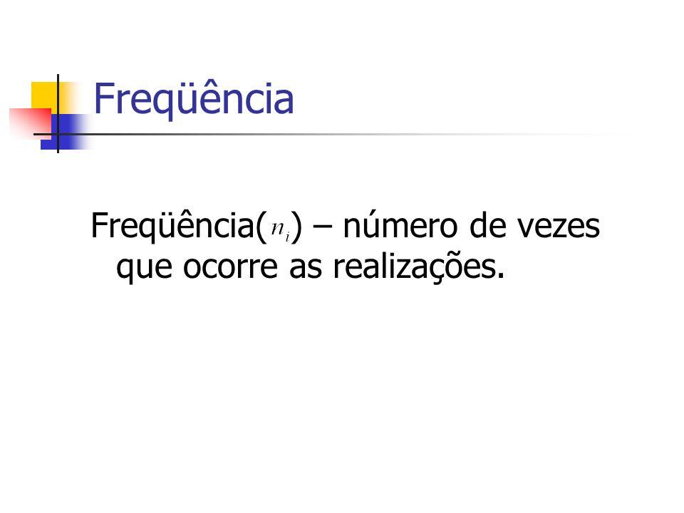 Freqüência Freqüência( ) – número de vezes que ocorre as realizações.