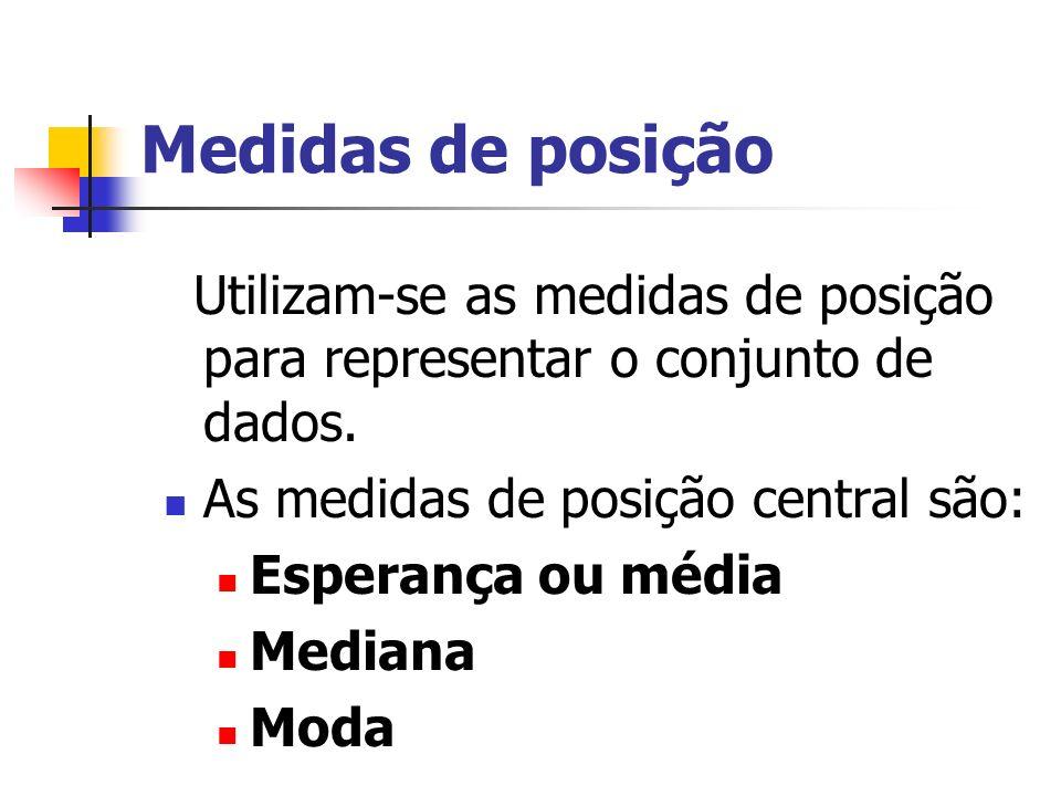 Medidas de posição Utilizam-se as medidas de posição para representar o conjunto de dados. As medidas de posição central são: Esperança ou média Media