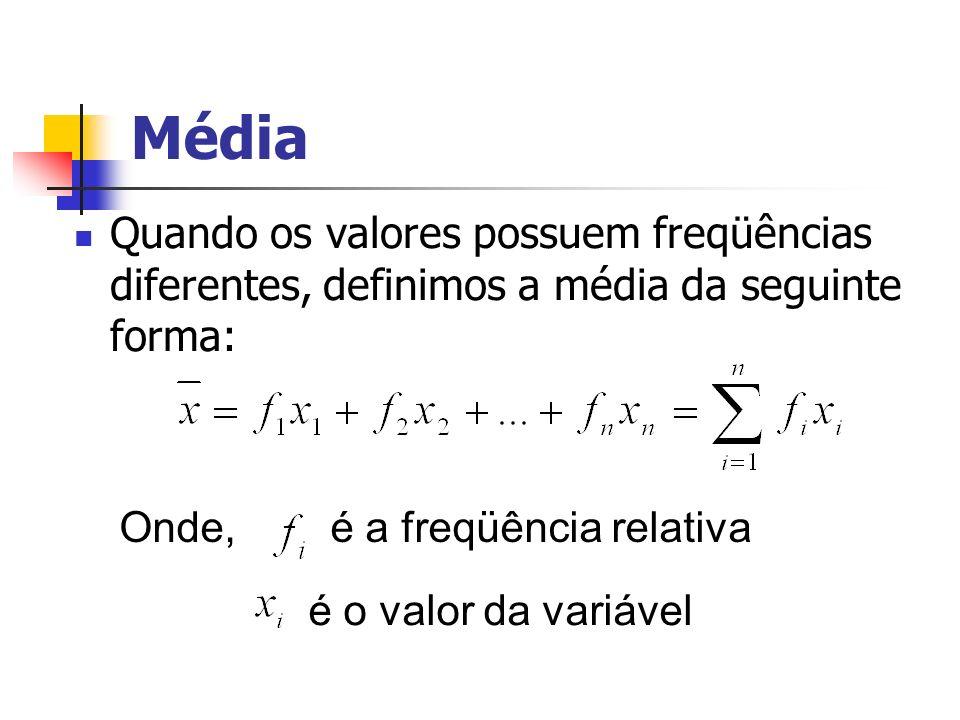 Média Quando os valores possuem freqüências diferentes, definimos a média da seguinte forma: Onde, é a freqüência relativa é o valor da variável