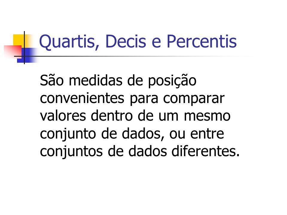 Quartis, Decis e Percentis São medidas de posição convenientes para comparar valores dentro de um mesmo conjunto de dados, ou entre conjuntos de dados