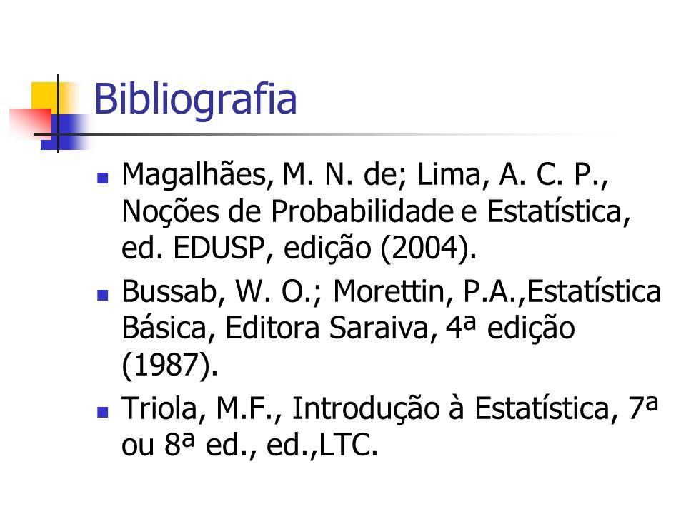 Bibliografia Magalhães, M. N. de; Lima, A. C. P., Noções de Probabilidade e Estatística, ed. EDUSP, edição (2004). Bussab, W. O.; Morettin, P.A.,Estat
