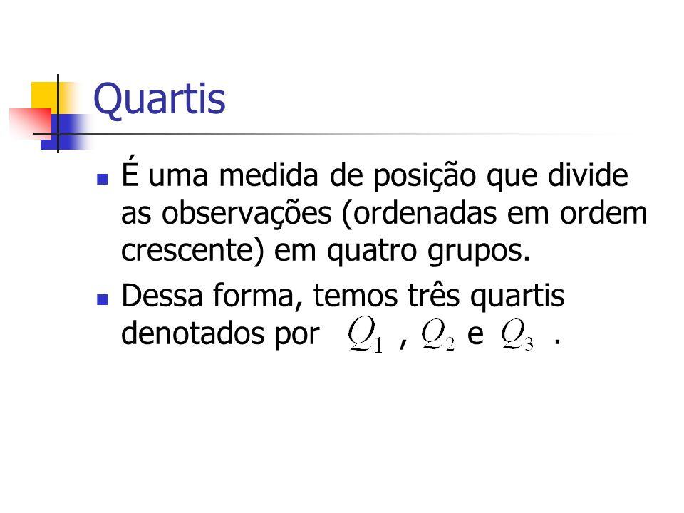Quartis É uma medida de posição que divide as observações (ordenadas em ordem crescente) em quatro grupos. Dessa forma, temos três quartis denotados p