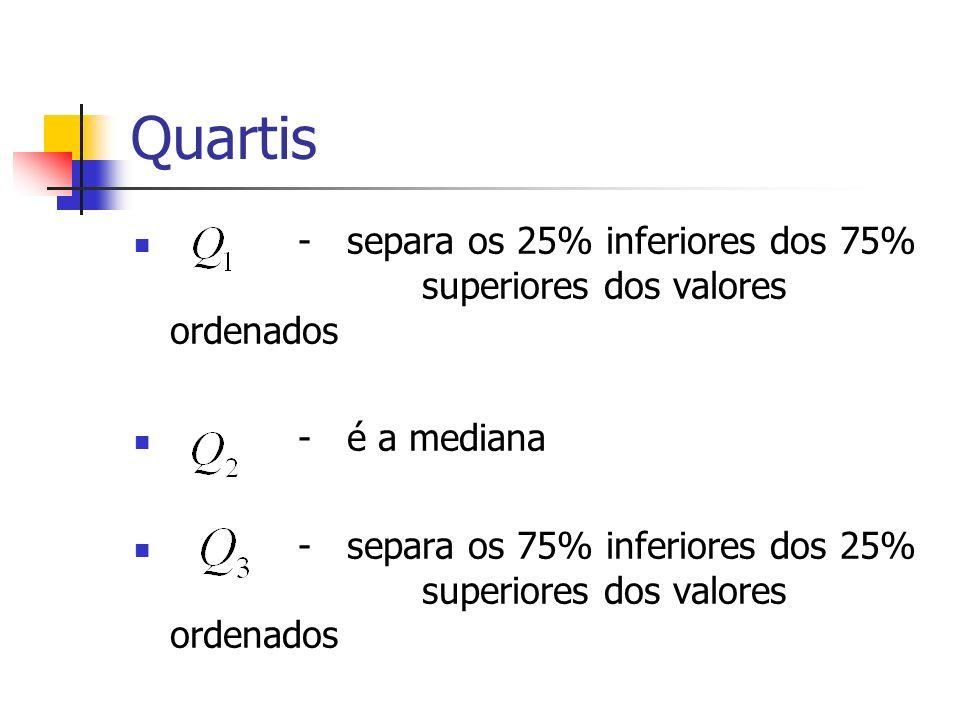 Quartis - separa os 25% inferiores dos 75% superiores dos valores ordenados - é a mediana - separa os 75% inferiores dos 25% superiores dos valores or