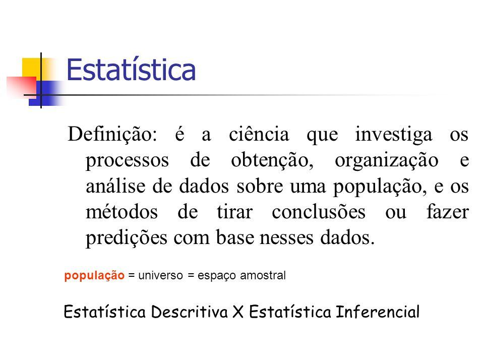 Estatística Definição: é a ciência que investiga os processos de obtenção, organização e análise de dados sobre uma população, e os métodos de tirar c
