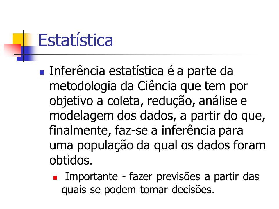 Estatística Inferência estatística é a parte da metodologia da Ciência que tem por objetivo a coleta, redução, análise e modelagem dos dados, a partir