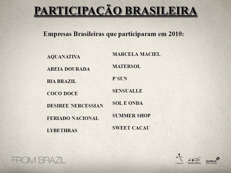 Empresas Brasileiras que participaram em 2010 : AQUANATIVA AREIA DOURADA BIA BRAZIL COCO DOCE DESIREE NERCESSIAN FERIADO NACIONAL LYBETHRAS MARCELA MACIEL MATERSOL P´SUN SENSUALLE SOL E ONDA SUMMER SHOP SWEET CACAU