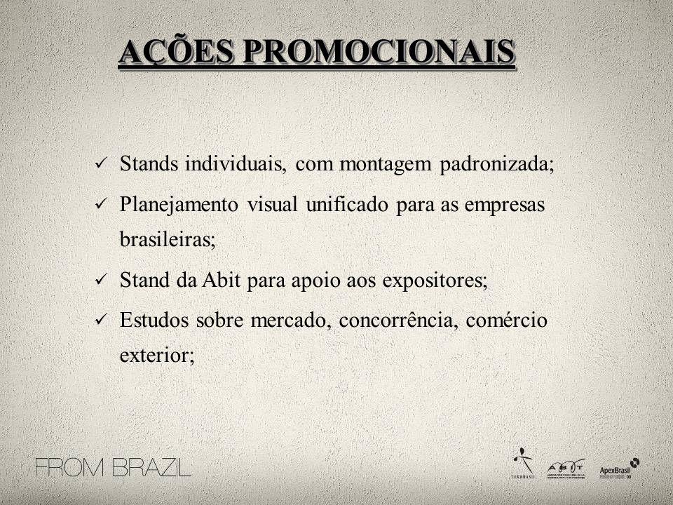 Stands individuais, com montagem padronizada; Planejamento visual unificado para as empresas brasileiras; Stand da Abit para apoio aos expositores; Es
