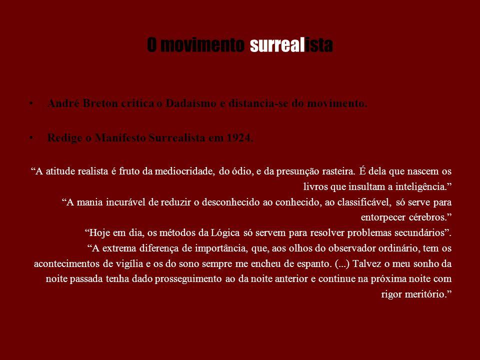O movimento surrealista O Manifesto desperta o interesse de vários artistas.
