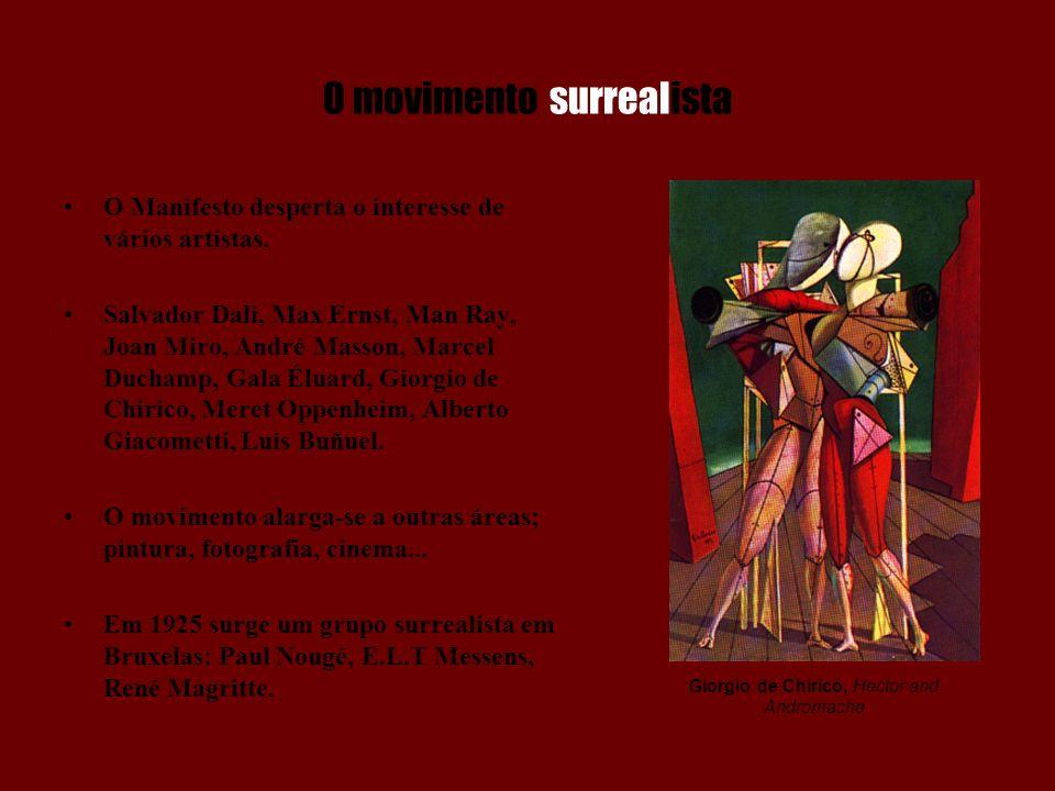 O movimento surrealista O Manifesto desperta o interesse de vários artistas. Salvador Dali, Max Ernst, Man Ray, Joan Miro, André Masson, Marcel Ducham