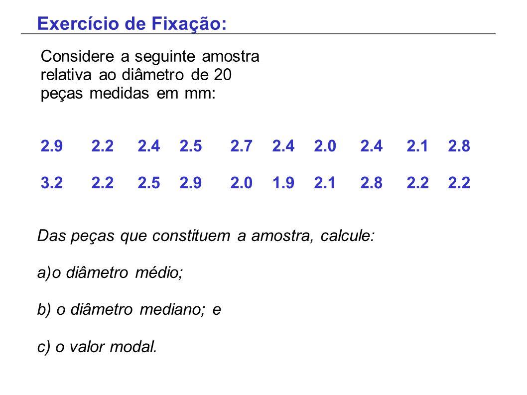 2.9 2.2 2.4 2.5 2.7 2.4 2.0 2.4 2.1 2.8 3.2 2.2 2.5 2.9 2.0 1.9 2.1 2.8 2.2 2.2 Das peças que constituem a amostra, calcule: a)o diâmetro médio; b) o