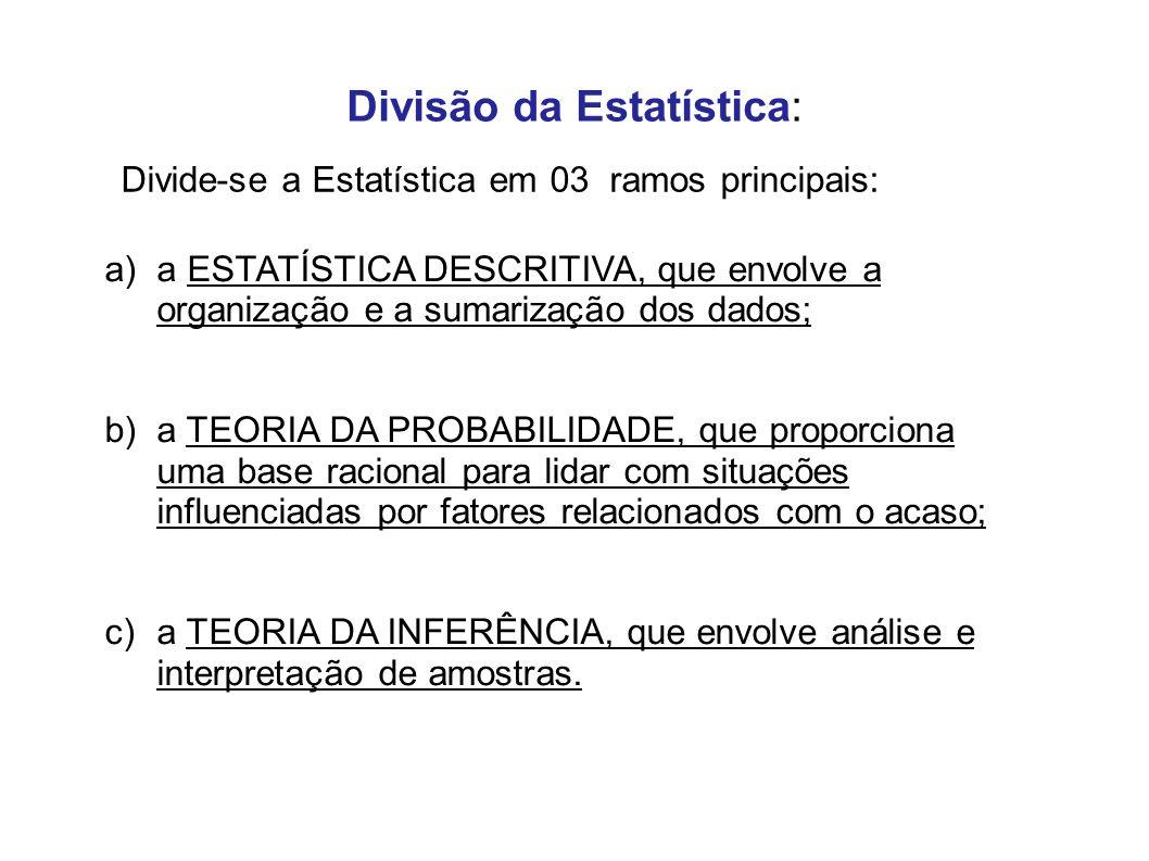 Divisão da Estatística: a)a ESTATÍSTICA DESCRITIVA, que envolve a organização e a sumarização dos dados; b)a TEORIA DA PROBABILIDADE, que proporciona