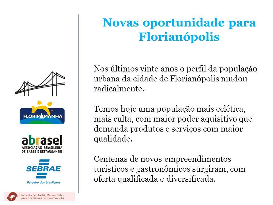 Novas oportunidade para Florianópolis Nos últimos vinte anos o perfil da população urbana da cidade de Florianópolis mudou radicalmente. Temos hoje um
