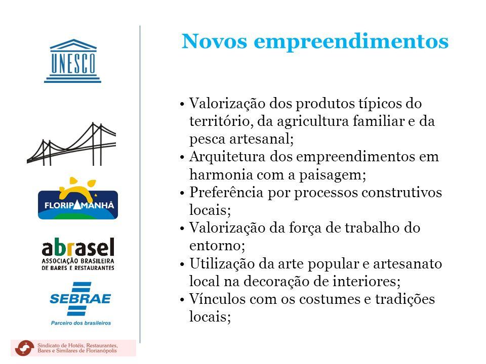 Novos empreendimentos Valorização dos produtos típicos do território, da agricultura familiar e da pesca artesanal; Arquitetura dos empreendimentos em