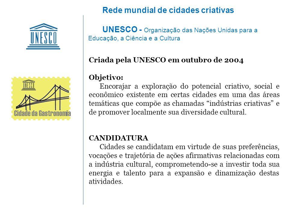 Criada pela UNESCO em outubro de 2004 Objetivo: Encorajar a exploração do potencial criativo, social e econômico existente em certas cidades em uma da