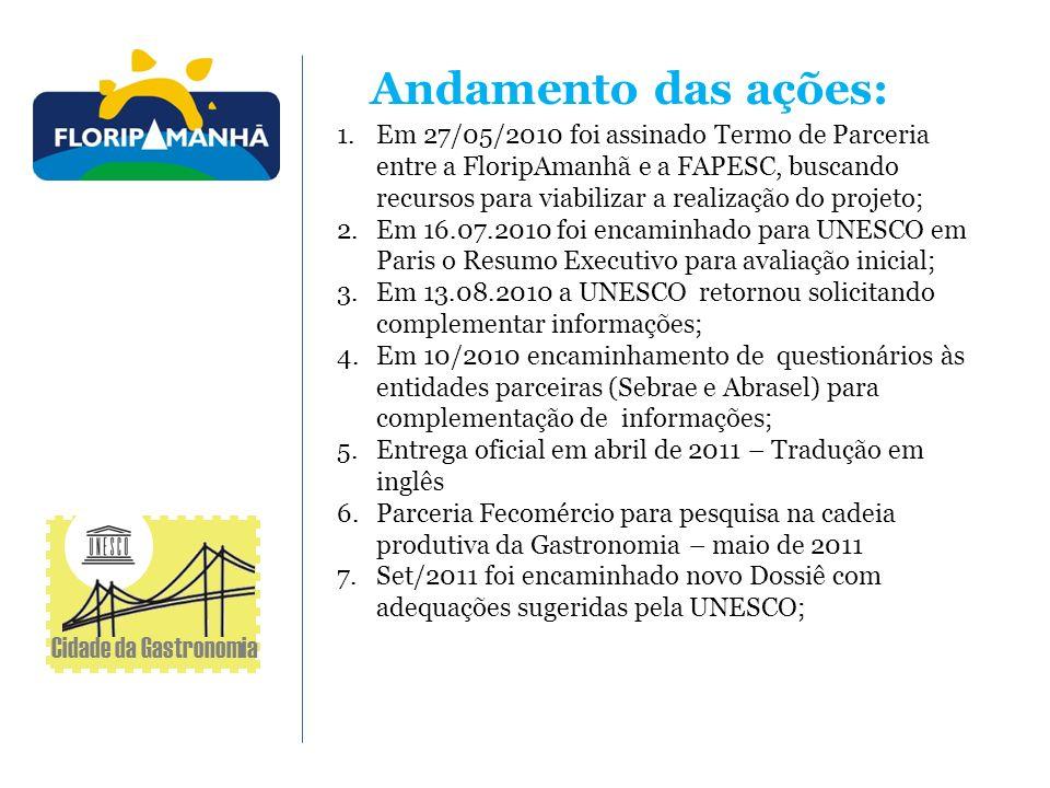 Andamento das ações: 1.Em 27/05/2010 foi assinado Termo de Parceria entre a FloripAmanhã e a FAPESC, buscando recursos para viabilizar a realização do