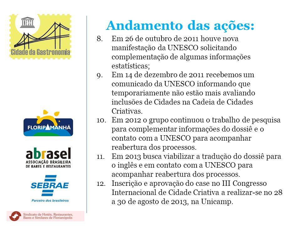 Andamento das ações: 8.Em 26 de outubro de 2011 houve nova manifestação da UNESCO solicitando complementação de algumas informações estatísticas; 9.Em
