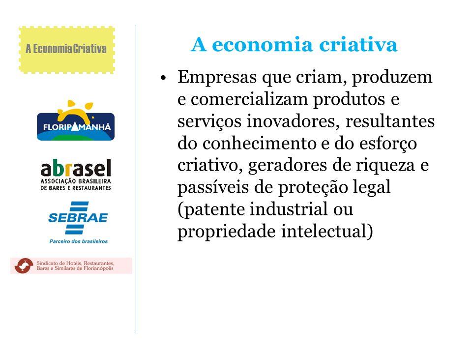 A economia criativa Empresas que criam, produzem e comercializam produtos e serviços inovadores, resultantes do conhecimento e do esforço criativo, ge