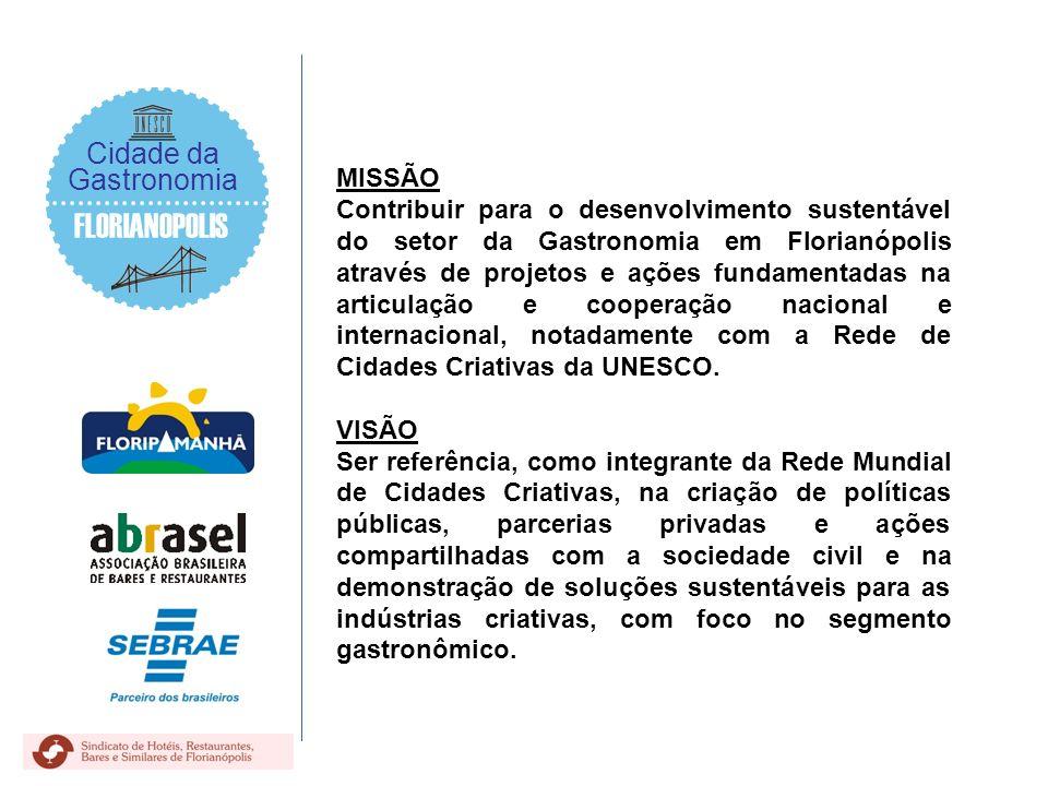 FLORIANOPOLIS Cidade da Gastronomia MISSÃO Contribuir para o desenvolvimento sustentável do setor da Gastronomia em Florianópolis através de projetos