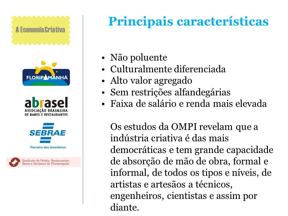 Principais características Não poluente Culturalmente diferenciada Alto valor agregado Sem restrições alfandegárias Faixa de salário e renda mais elev