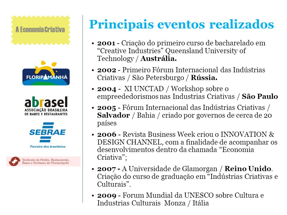 Principais eventos realizados 2001 - Criação do primeiro curso de bacharelado em Creative Industries Queensland University of Technology / Austrália.