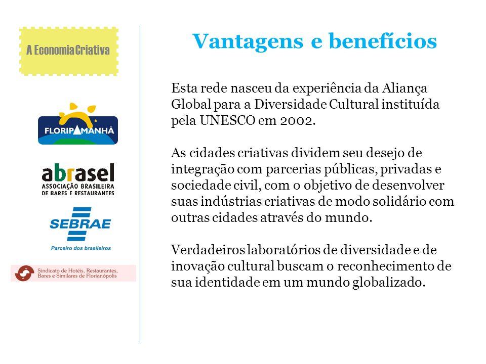 Vantagens e benefícios Esta rede nasceu da experiência da Aliança Global para a Diversidade Cultural instituída pela UNESCO em 2002. As cidades criati